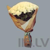 Balts Premium rožu pušķis, 101 gabala, 90cm garas, laba cena !