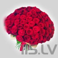 Sarkano rožu pušķis, 101 gb., 50cm,